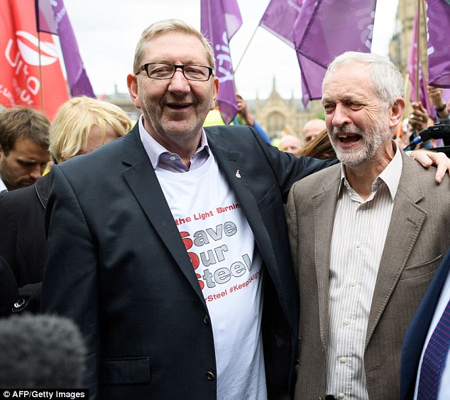 In a split from his key ally Jeremy Corbyn, right, 'Red' Len McCluskey, left, the general secretary of Unite, said Labour and the unions must 'listen to the concerns of working people'