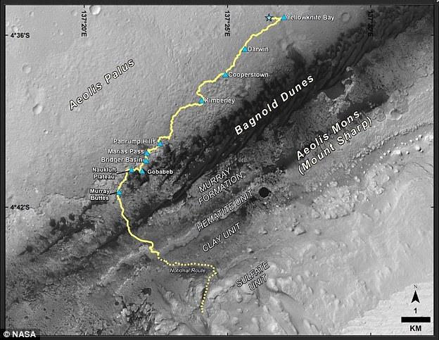 Este mapa muestra la ruta impulsada por la curiosidad Mars Rover de la NASA desde el lugar donde aterrizó en agosto de 2012 a su ubicación en diciembre de 2016, que se encuentra en la mitad superior de una unidad geológica llamada la formación Murray, en la parte inferior del montaje de Sharp.
