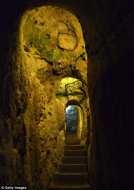 Long tunnel and stairs wind through the city of Derinkuyu in Cappadocia