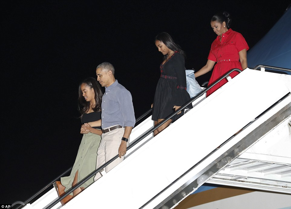 The Obamas have touched down in Hawaii for their annual Christmas vacation, which will be their last as the First Family