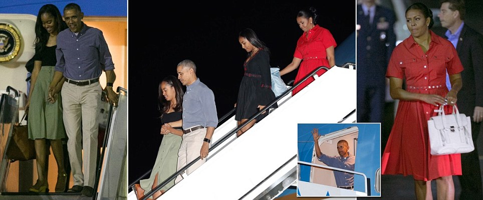The Obamas arrive in Hawaii for their final vacation as First Family