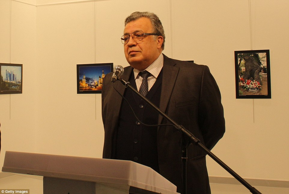 Mr Karlov (pictured) was about to give a speech at an art exhibition when the gunman burst in and began firing at him, shouting about the situation in Aleppo