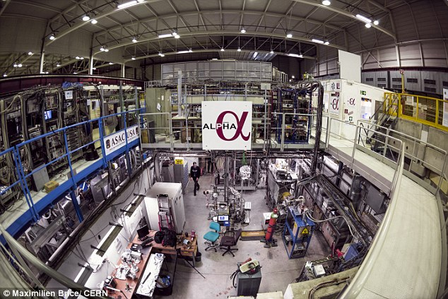 Researchers working on the ALPHA experiment at CERN , which is located on the Swiss-French border, used a laser to tickle atoms of antimatter and make them shine, a key step toward answering one of the great riddles of the universe.