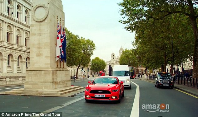 A brief clip at the beginning of the latest The Grand Tour trailer shows a red sports car cruising past London's Cenotaph - a clear dig at a Top Gear stunt which prompted outrage at the time