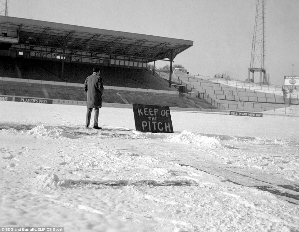 A general view of the football pitch at Chelsea, one of the many grounds where football was postponed because of snow.