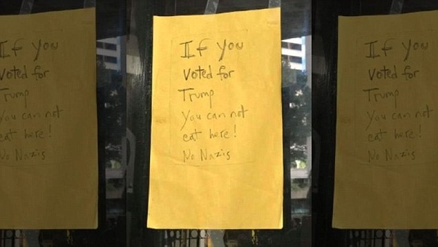 An Italian cafe in Honolulu posted a handwritten yellow sign saying Trump voters couldn't eat there