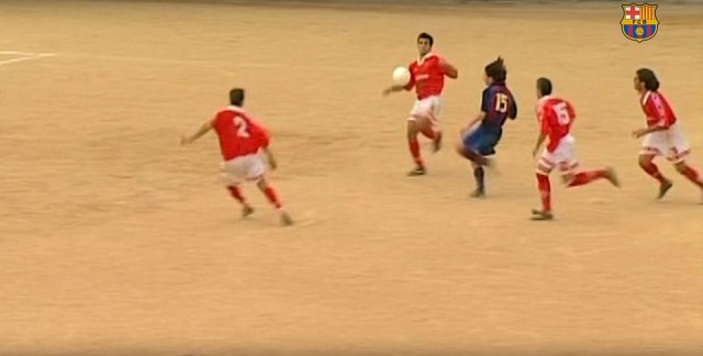 Messi is used to the pristine pitches of the Nou Camp nowadays, but in the video he played on some surfaces made of sand