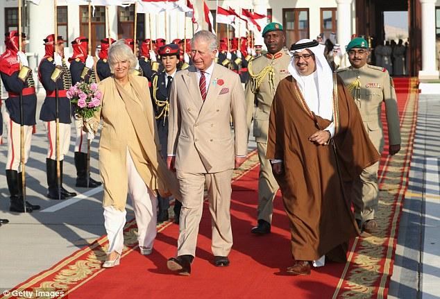 Camilla, Duchess of Cornwall and Prince Charles, Prince of Wales alongside Prince Salman bin Hamad bin Isa Al Khalifa, Deputy King, Crown Prince of Bahrain head to the Royal plane on day four of a Royal tour of Bahrain on November 11