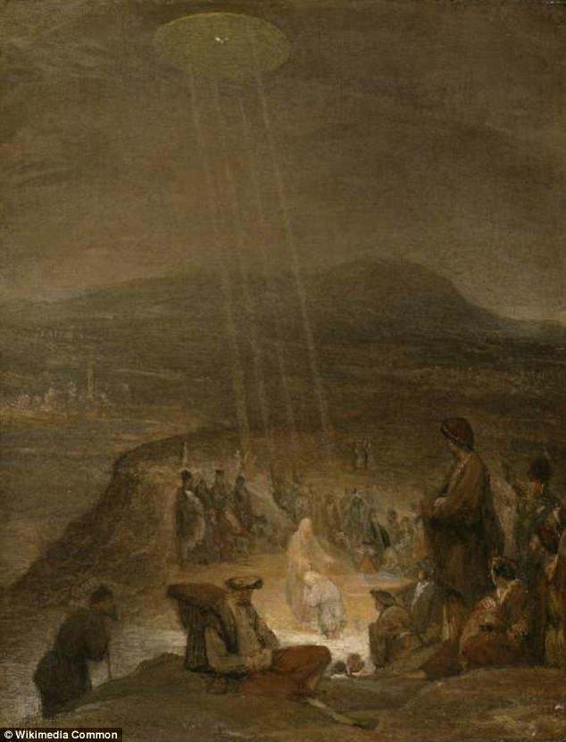 """Los expertos en arte sugieren que esta pintura es una referencia a un pasaje: """"Los cielos se abrieron y el Espíritu descendió como paloma, y (put) venía sobre él '.  UFO Hunters sugieren que el objeto en forma de disco se muestra irradiar una luz sobre Juan el Bautista y Jesús podría ser un OVNI"""
