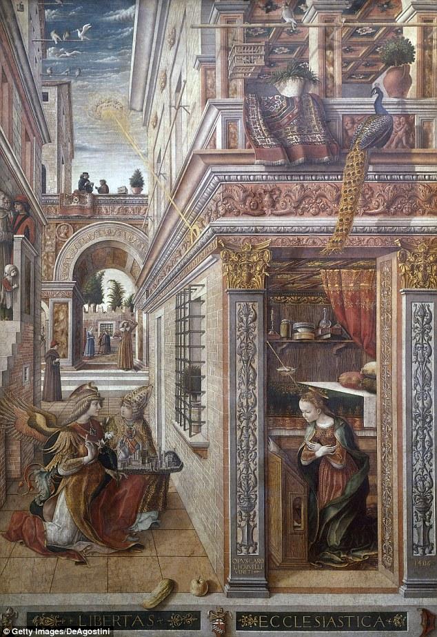 Esta pieza alter fue pintado por el artista italiano Carlo Crivelli.  Teóricos de la conspiración sugieren que el anillo representado en la parte superior izquierda brilla la luz sobre María es en realidad una nave espacial UFO