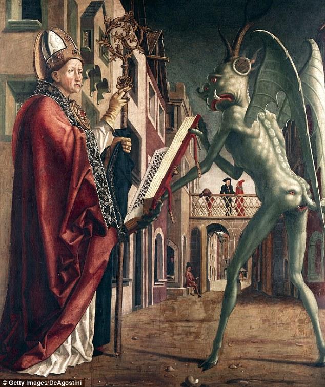 El famoso pintor del siglo 15 renacimiento alemán Michael Pacher creó este trabajo alrededor de una leyenda que San Wolfgang engañó al diablo en la construcción de una iglesia.  teóricos de la conspiración afirman que la figura que representa al diablo en la pintura podría ser una representación de un extranjero