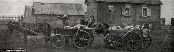 Los cadáveres son llevados por la compra en Samara en esta foto de Enrique de Weindel en 1922-23