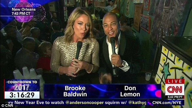 Unhappy new year: As #drunkdonlemon trended for the second time on Twitter, CNN hosts Don Lemon and Brooke Baldwin saw in New Year from New Orleans