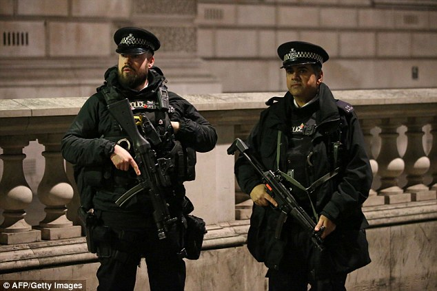 On guard: Two officers stand at the ready in central London where more than 110,000 people gathered for New Year celebrations