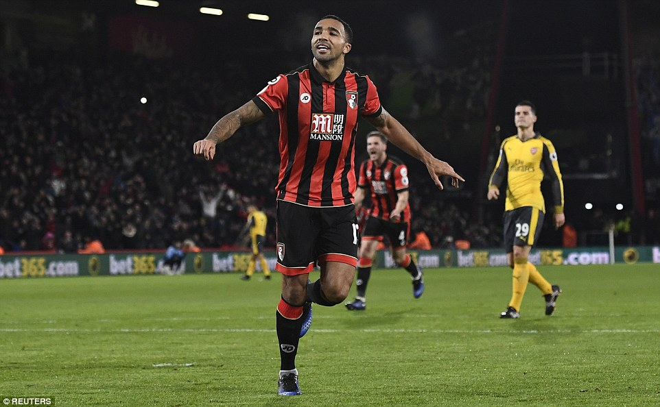 Wilson pictured running away in celebration after scoring Bournemouth's second goal against Arsenal