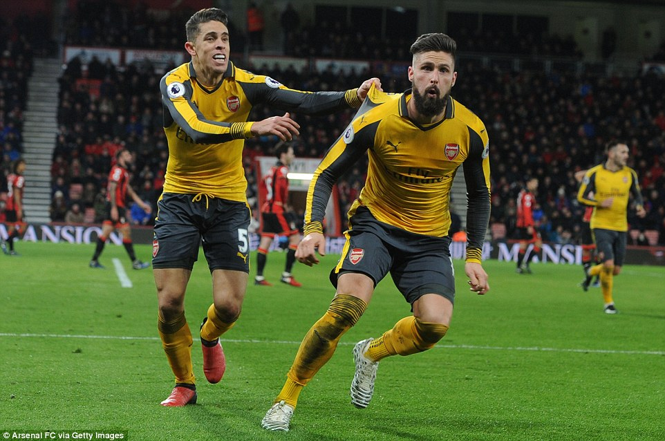 Giroud scored again for Arsenal as he saved them from losing to Bournemouth in the Premier League here