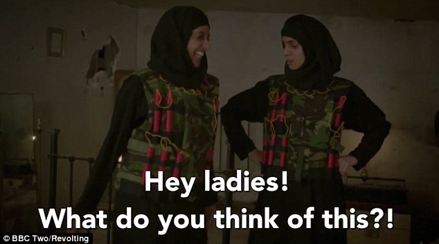 The women then start to argue as though they are women from the American TV show when a 'jihadi wife' arrives in a matching suicide vest