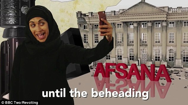 One character, Afsana, takes a selfie as she talks about the fact there is only three days until the next beheading