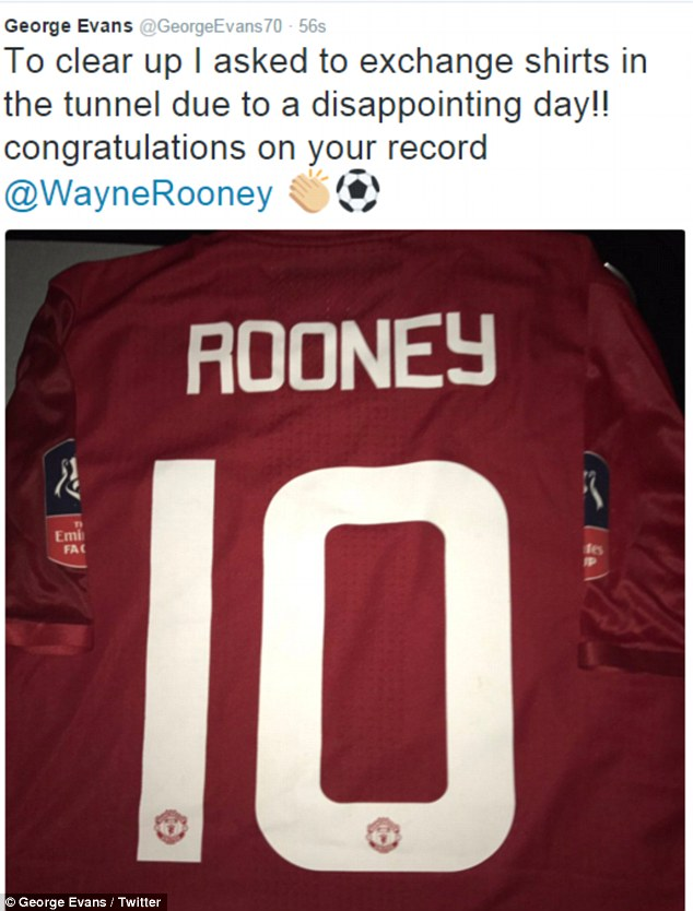 Evans later tweeted photographic evidence that he had in fact accepted Rooney's shirt