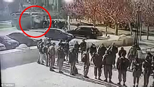 This is the moment the truck, circled, approached the group of Israeli soldiers at speed