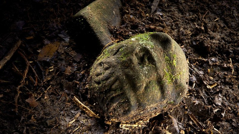Discovery: The team were on the site of the city for a day before they discovered this carving, believed to be of a snarling jaguar, on the ground. The city's residents had left behind their homes and all their items when they fled
