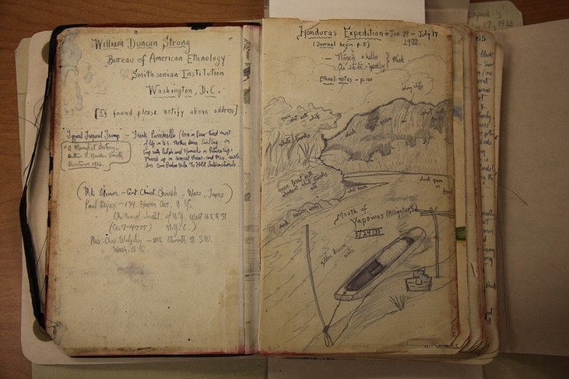 Foiled: Previous explorers including William Duncan Strong (his 1933 journal pictured) have been foiled by the dense foliage and proliferation of deadly creatures. This time, however, the team had technology on their side