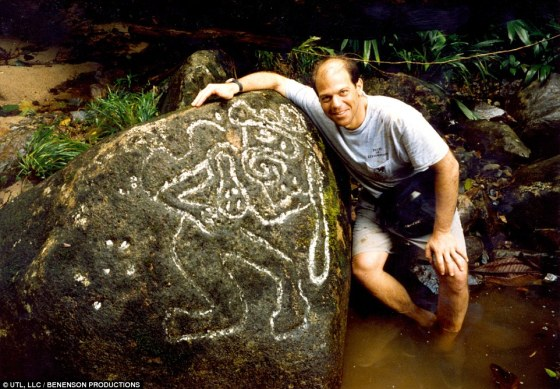 Carvings: On his first foray into the jungle to find the city in 2004, Elkins discovered these carvings on a rock, deep in the jungle. They showed a man planting seeds - a sign that a major farming civilization once existed in what is now thick foliage