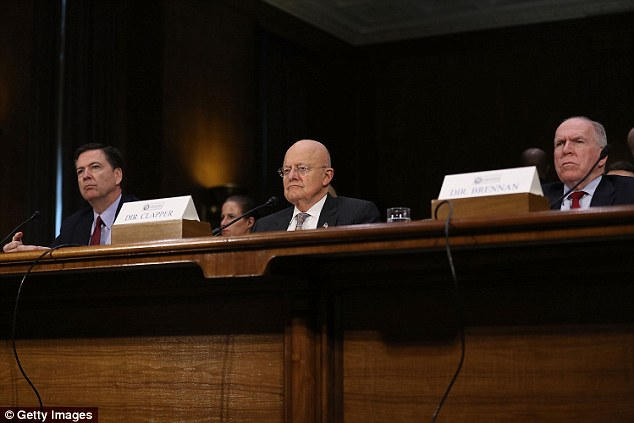 President-elect Donald Trump conducted the sting after growing frustrated that word of his classified briefings were leaking. He is entitled to get a top-level security briefing. It is usually conducted by senior intelligence officers. Pictured areFBI Director James Comey, Director of National Intelligence James Clapper and Central Intelligence Agency Director John Brennan (L-R) testify before the Senate (Select) Intelligence Committee