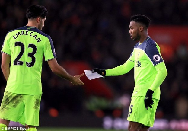 He passed on the note to team-mate Emre Can as Liverpool sought an equaliser