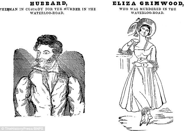 Dr. Bondeson es amante de la Sra inflexible Grimwood William Hubbard, a la izquierda, no era responsable de su asesinato. Fue detenido después de que él encontró a su cuerpo tendido en un charco de sangre en su dormitorio. La pareja está representado en un dibujo animado de la Penny Satirista junio de 1838