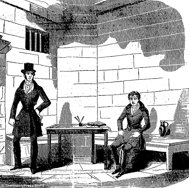 Dr. Bondeson también ha acusado Courvosier de matar a otra prostituta y un relojero, así como su maestro Lord William Russell, de los cuales su asesinato fue encontrado culpable de en 1840 y posteriormente fue ahorcado para. Él es la foto, a la derecha, aquí, en una espera de ejecución de células en un dibujo de Gaceta de policía del pueblo a partir de julio 1840