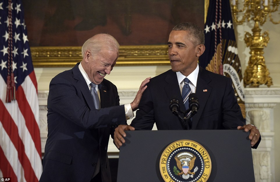 Obama described the Vice President as a 'lion of American history', a 'family man' and 'humble servant' in the glowing tribute