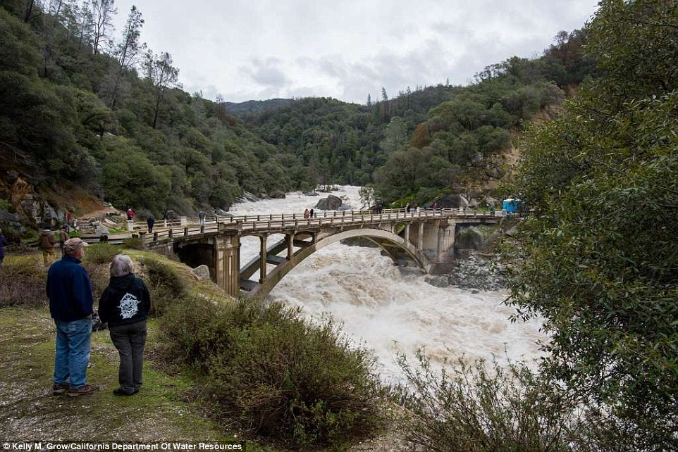 The friendly swimming hole is not looking so friendly in 2017 as water rushes under theSouth Yuba River Bridge due to the rainstorms