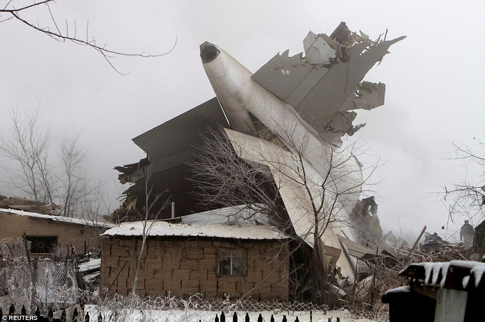 The Boeing 747 crash-landed in heavy fog just outside Manas airport, south of the capital Bishkek and ploughed through 43 buildings