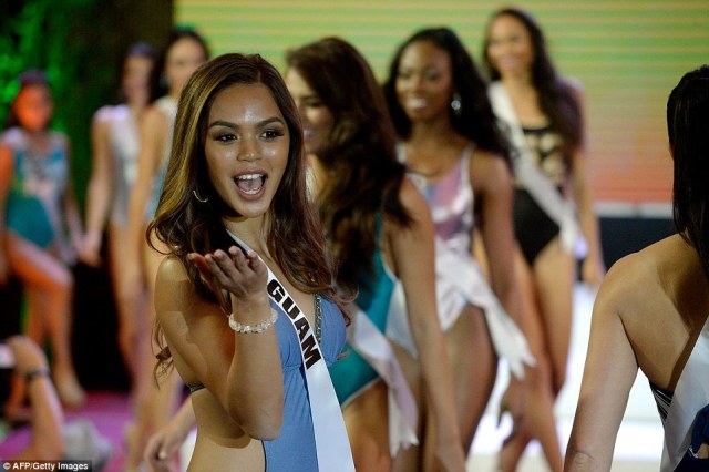 Miss Guam Muneka Joy Cruz Taisipic appeared to be brimming with confidence as she blew a kiss to her audience while walking the runway