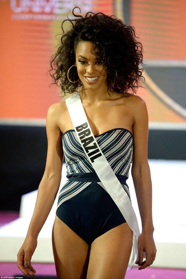 Each of the women walked the runway before an audience as well as judges who will choose the overall winner. Pictured: Miss Brazil Raissa Santana