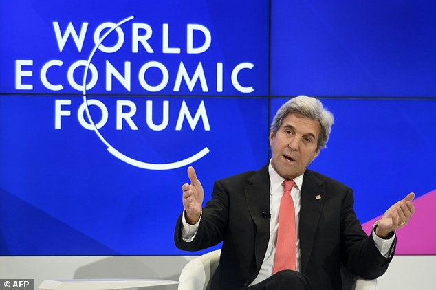 John Kerry was applauded at the World Economic Forum in Davos as he appeared to say the Trump administration would only last 'a year, two years'