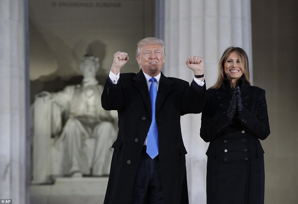 Guests of honor:President-elect Trump and his wife Melania arrive at a pre-Inaugural Make America Great Again! Welcome Celebration