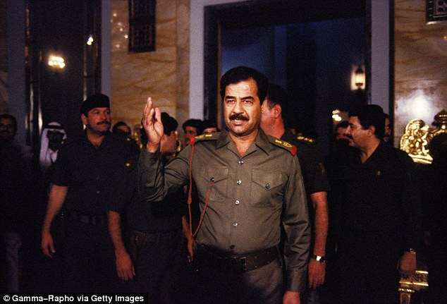 It hoped it could convince Saddam (pictured in 1983) to co-operate as the closure of the pipeline had brought the country 'to its financial knees'