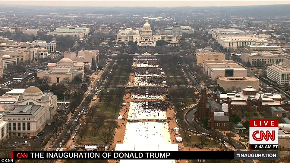 The national mall was half empty as Trump's swearing-in ceremony started on Friday morning