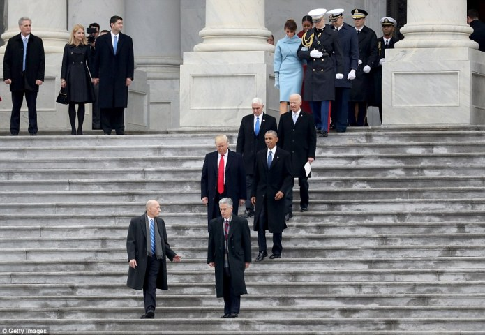 President Donald Trump escorts former president Barack Obama from the U.S. Capitol as Vice President Mike Pence and former vice president Joe Biden on the West Front of the U.S. Capitol on January 20, 2017 in Washington, DC. In today's inauguration ceremony Donald J. Trump becomes the 45th president of the United States