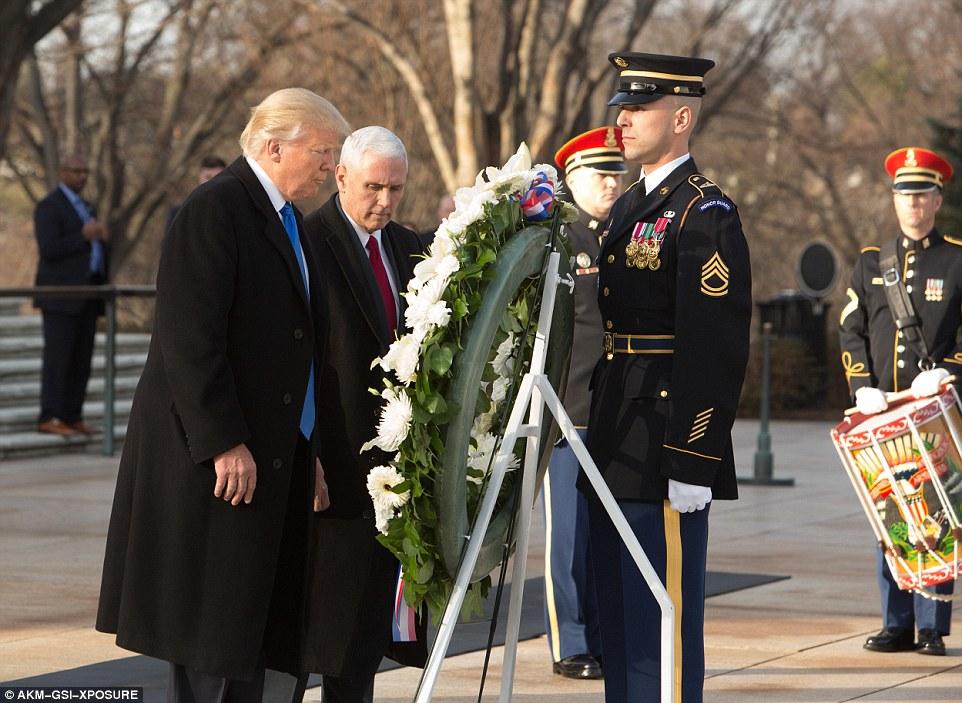 Following the tradition of previous presidents, Trump visited Arlington National Cemetery with Mike Pence to lay a wreath at the Tomb of the Unknown Soldier later