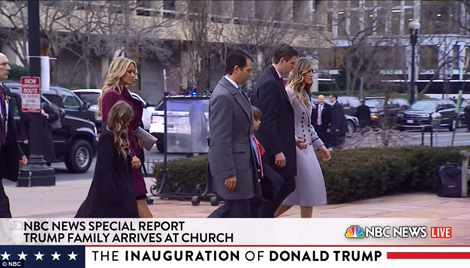 All of Trump's children were with him, except youngest son Barron, age 10. Pictured above from left to right: Vanessa Trump with daughter Kai, Donald Trump Jr with one of his sons and Eric Trump holds hands with his wife Lara