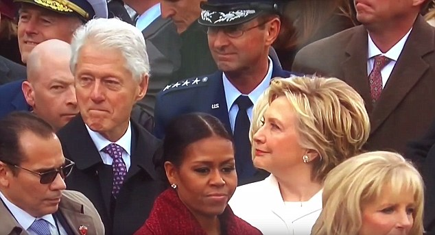 But it wasn't long before Hillary noticed her husband wasn't watching what was happening on stage, and gave him a long disapproving stare