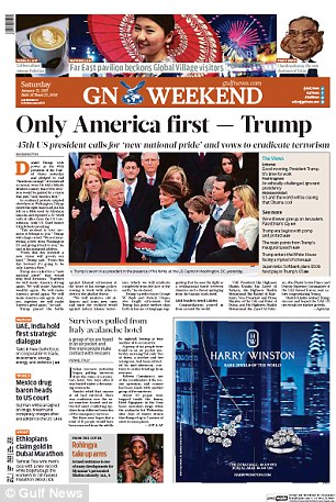 The United Arab Emirates' Gulf News also pictured the billionaire next to his wife, youngest son and eldest daughter, this time with Donald Jr in the fram