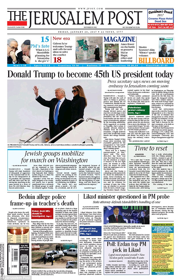 In Israel, The Jerusalem Post featured Trump on Friday, picturing the president on his way out of plane, right above a story about Jewish groups planning to march on Washington