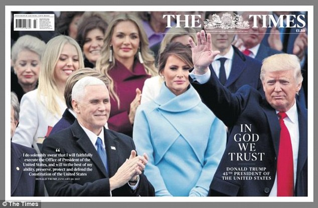 'In God we trust': The Times in the UK showed Trump waving to the audience with his family and vice-president Mike Pence by his side, opting to quote the presidential oath