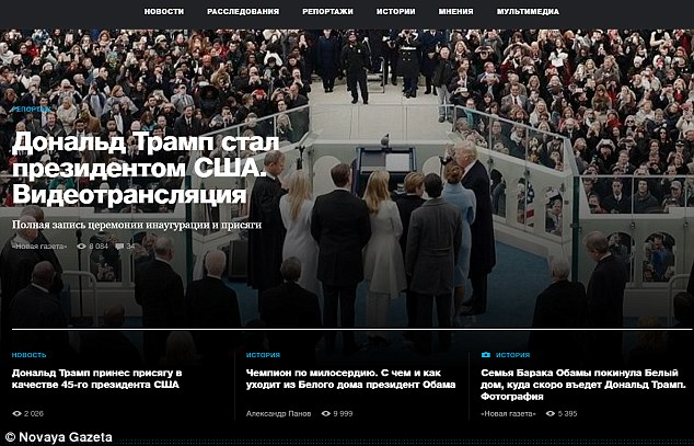 Russia's Novaya Gazeta dedicated the homepage of its website to the inauguration on Friday, showing Trump and his family during the oath ceremony