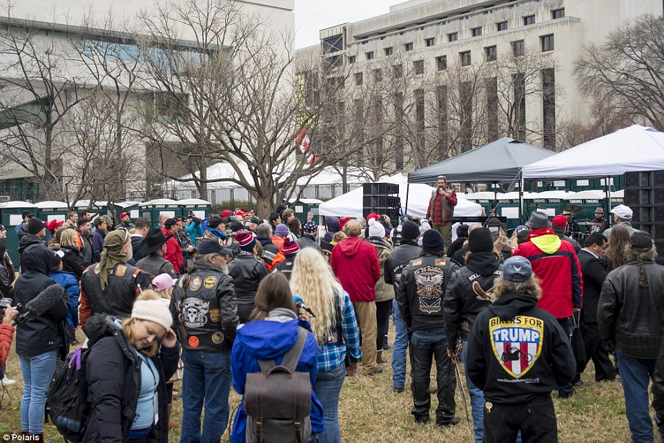 Bikers For Trump, a self-explanatory organization who aim to 'promote and coordinate peaceful rallies and events nationwide' held their own celebration while the millions of women marched nearby