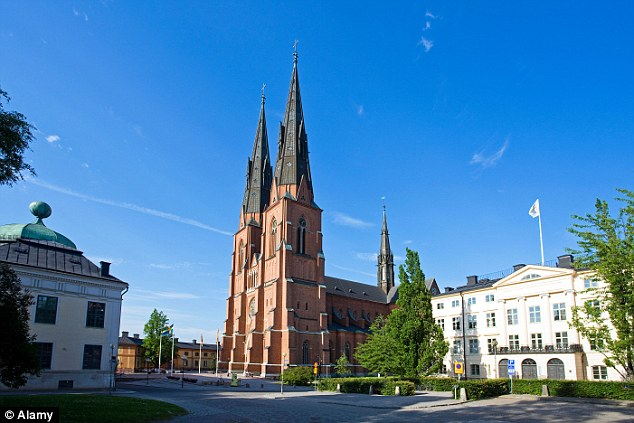 Three men were arrested in Uppsala (pictured) in Sweden after the incident on Saturday night